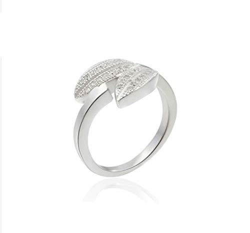 SonMo Ring Damen 925 Silber Doppelt Blatt Bandring Verlobungsring Hochzeitsringe Weiß Partnerringe Frauen Größe 52 (16.6)