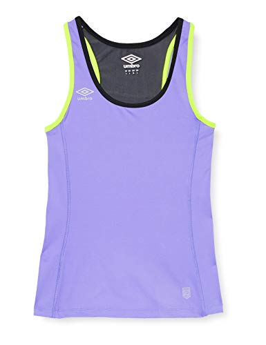 Umbro 62615U-DGB Camiseta de Tirantes, Mujer, Malva/Negro/Amarillo Fluor, XL