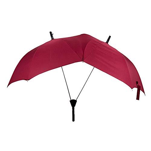 Memory Gerade Umbrella, Paar Doppel-Hooks Umbrella, 16 Bone Large Long Handle Windproof Double Pole Personality Umbrella,Red