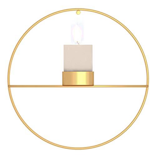 Wuudi Kerzenständer, Wandkerzenhalter 18,5cm Rund Metall Kerzenständer Golden für Valentinstag Weihnachts Hochzeit Wanddekoration