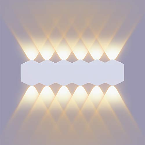 ENCOFT LED 12W 31cm Aplique Pared Interior Moderna con Luz Up Down Spot, Blanco Lámpara Iluminación de pared en Aluminio IP54 para Salón Dormitorio Escalera Pasillo, Blanco Cálido 3000K