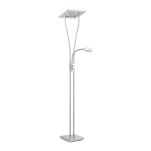 LeuchtenDirekt, LED Stehleuchte, 2-flammig, dimmbar mit Drehschalter, kippbar, Leseleuchte zuschaltbar, drehbar, Standleuchte, warmweiss, 3000 Kelvin, Stahl, quadratisch, IP20