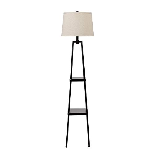 Catalina Lighting 19305-000 Modern Metal Etagere Floor Lamp with Shelves and Linen Shade, 58