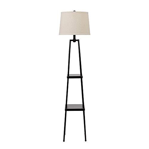 Catalina Lighting 21405-000 Modern Metal Floor Lamp with Shelves and Beige Linen Shade for Living, Bedroom, Dorm Room, Office, 58', Black
