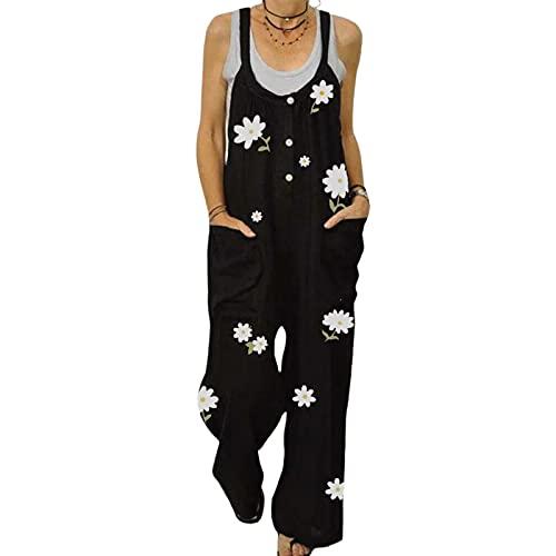Mono de estilo suelto para mujer, estampado floral, sin mangas, cuello en forma de U, tallas S/M/L/XL/XXL, Negro, M