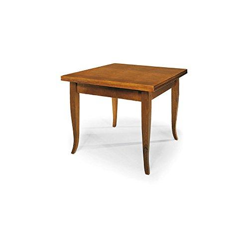 InHouse srls Tavolo allungabile a libro, arte povera, in legno massello e mdf con rifinitura in noce lucido - Mis. 90 x 90 x 78