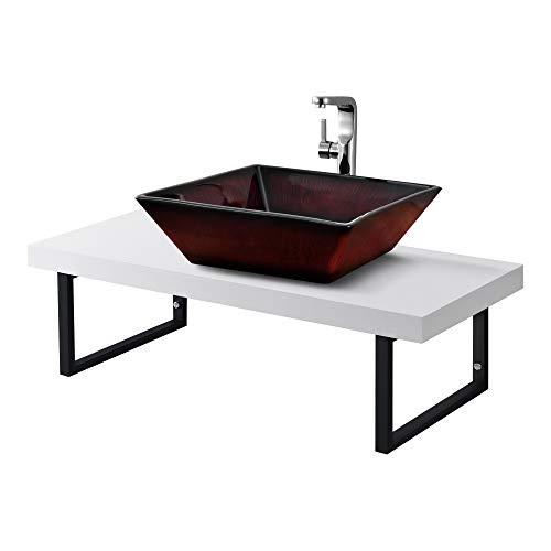 Neuhaus Encimera de Lavabo 100 x 45 x 30 cm Toallero Estante de Baño Tablero de Pared para Lavabo con Soporte de Metal Mueble de Baño Blanco Mate
