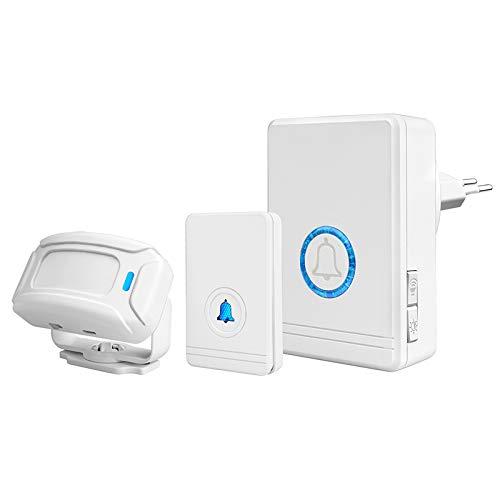 town sister Wireless Türklingel Infrarot-Bewegungssensor-Alarmset mit Nachtlicht, IP66, kann innerhalb von 100 m / 48 Arten von Klingeltönen/Level 5 Volume Range
