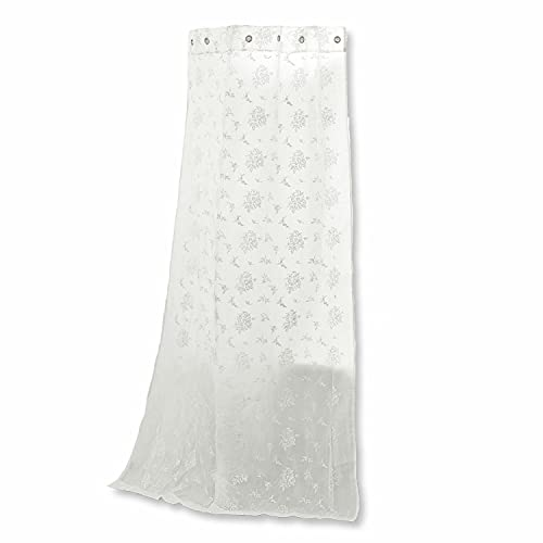Loberon Duschvorhang Ashdon, Polyester/Baumwolle, H/B ca. 200/140 cm, weiß