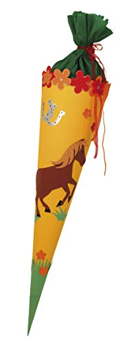Rayher 7134700 Bastelset, für Schultüten Verzierung, Pferd Motiv zum Selber Basteln für eckige und runde Rohlinge