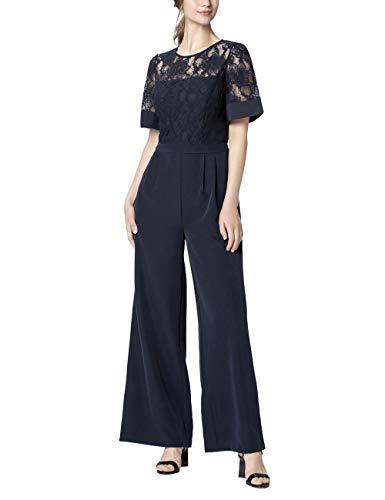 APART glamouröser Damen Overall, Jumpsuit, Brautmode, mit Spitze, Marlene Stil, Klassische Eleganz, Nachtblau, 36