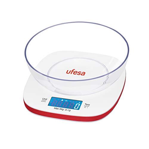Ufesa BC1450 - Báscula de cocina Digital, Gran bol de Plás