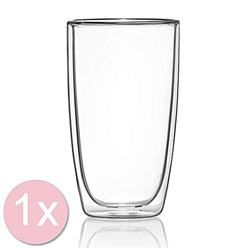 Dimono Doppelwandiges Trinkglas 450ml Wasserglas Glas doppelwandig Latte Macchiato Longdrink-Gläser (1 Stück)