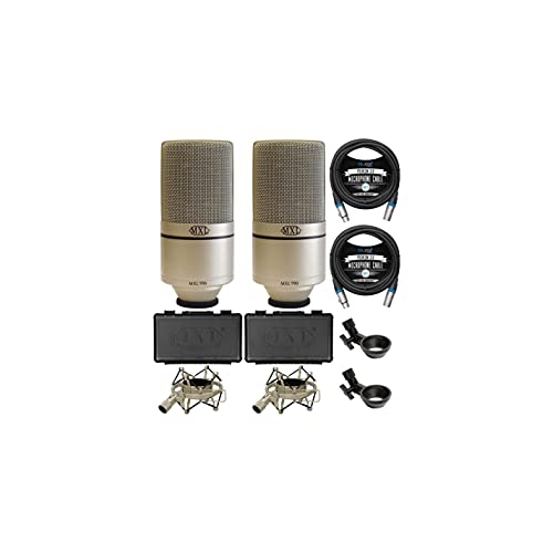 MXL 990 Cardioid Condenser Microphones for Vocal and Acoustic Instrument Recording (2-Pack) Bundle with Blucoil 10-FT Balanced XLR Cables (2-Pack)