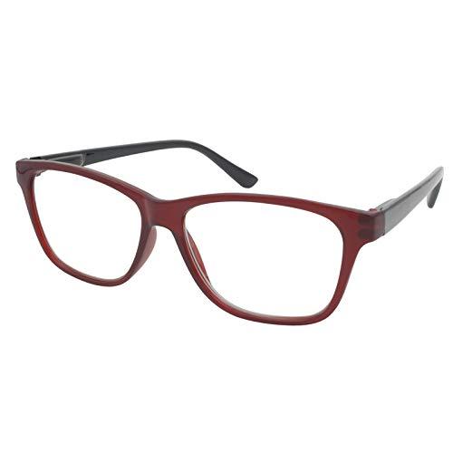 TBOC Gafas de Lectura Presbicia Vista Cansada - Graduadas +1.00 Dioptrías Montura de Pasta [Burdeos] de Diseño Moda para Hombre Mujer Unisex Lentes de Aumento para Leer Ver de Cerca