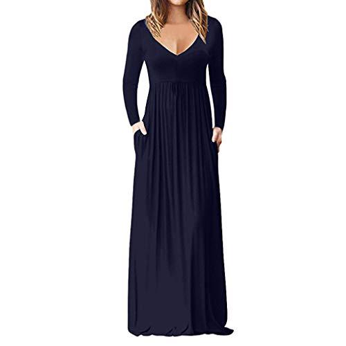 Damen Kleid mit V-Ausschnitt Langarm Kleid mit hoher Taille Schlanke Sommermode Bohemian einfache lässige Maxi langes Kleid Sonojie