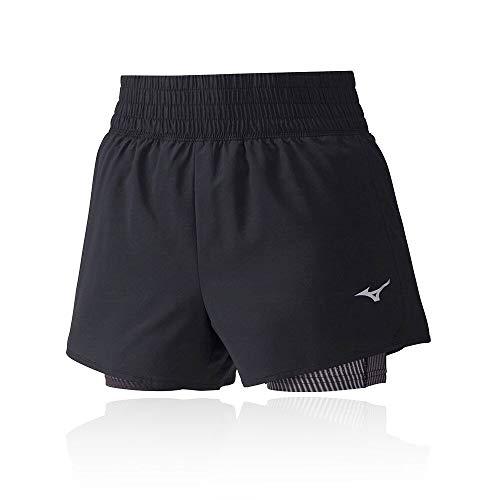 Mizuno 4.5 2in1 Short Pantalón Corto, Hombre, Black/Black, S