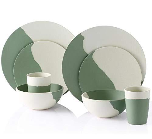 Assiette Dinner Arts de la table plaque verte et blanche en poudre fibre de bambou vaisselle (Color : 8 Pcs for 2 person)