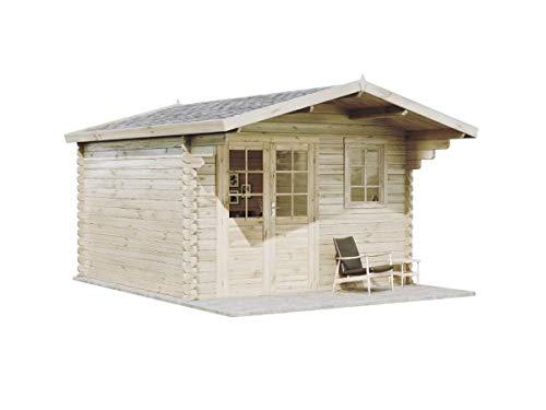 Alpholz Gartenhaus Erki-44 B aus Massiv-Holz | Gerätehaus mit 44 mm Wandstärke | Garten Holzhaus inklusive Montagematerial | Geräteschuppen Größe: 380 x 380 cm | Satteldach