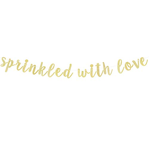LINGTEER Sprinkled with Love Gold Glitter Bunting Banner Perfect for Baby Shower Birthday Gender Reveal Party Decorations