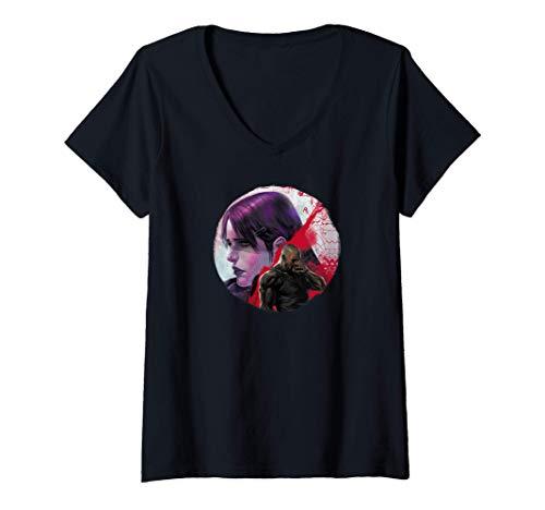Femme Marvel Jessica Jones Defender Grunge Look T-Shirt avec Col en V
