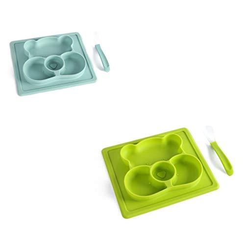 Esstisch Aus Silikon in Lebensmittelqualität, Hochtemperaturbeständiger Und Tropfenbeständiger Teller Für Kinder, Teller Mit Babynahrungsergänzung,Blue Green