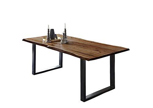 SAM Esszimmertisch 140x80 cm ULM, Baumkantentisch nussbaumfarben, Akazienholz massiv, U-Gestell aus Metall schwarz