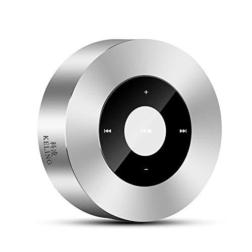 Altavoz Bluetooth Portátil de Madera Retro Casa Mini Bluetooth 5.0 Altavoz estéreo,10 Horas de reproducción, 4W de Doble Unidad, Puerto de subwoofer y micrófono Incorporado,Plata,30mmX85mm