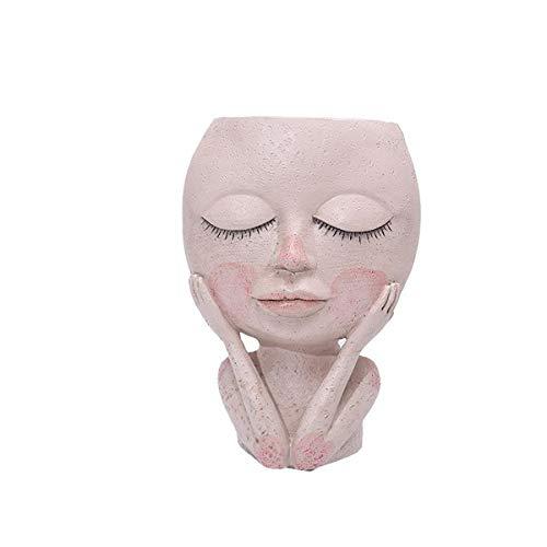 CHENYI Vaso in resina per interni ed esterni, vaso per piante grasse a forma di testa femmina, vaso creativo per decorazione della casa, giardino (A)
