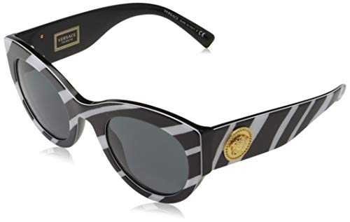 Versace 0VE4353 Gafas de sol, Zebra White/Black, 51 para Mujer
