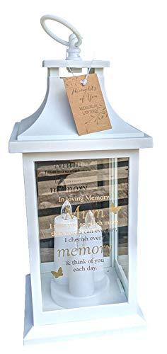 Gedachten van je In Loving Memory MUM White Memorial Lantaarn met 3 LED Kaarsen Batterij Op