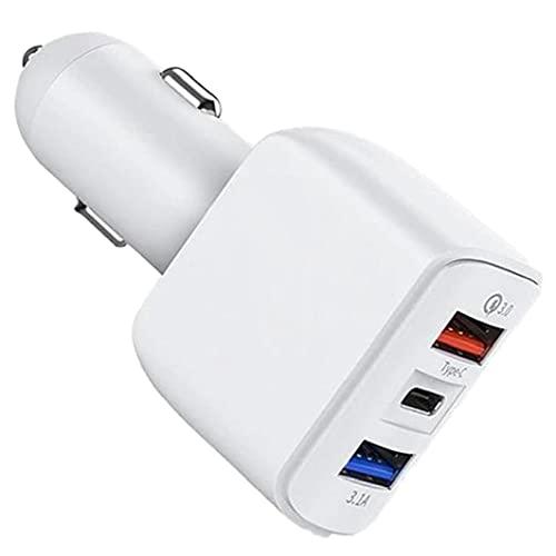 Tuimiyisou teléfono del Coche Cargador USB Tipo Mini Puerto USB de Carga rápida C Adaptador para teléfono Inteligente Blanco