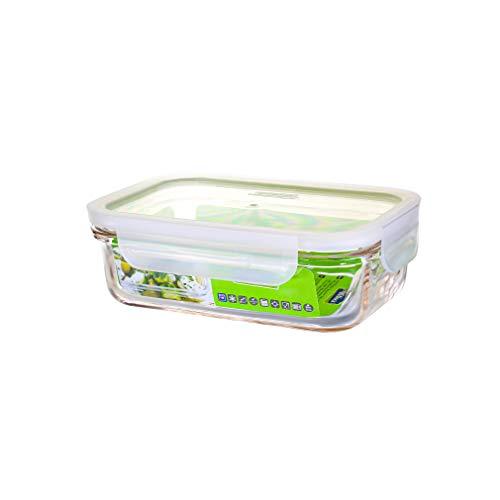 GLASSLOCK mikrowellengeeignete Vorratsdosen aus temperiertem Glas mit Clip-Verschlussdeckel, Fancy Line, 400ml, rechteckig, MCRB-040F