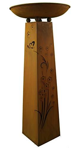 Rostikal | Personalisierte Edelrost Säule mit Pflanzschale | Blumensäule zur Gartendeko aus Metall | 115 cm