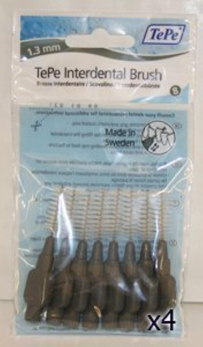 肯定的バングラデシュトラップTePe Interdental Brushes 1.3mm Grey - 4 Packets of 8 (32 Brushes) by TePe