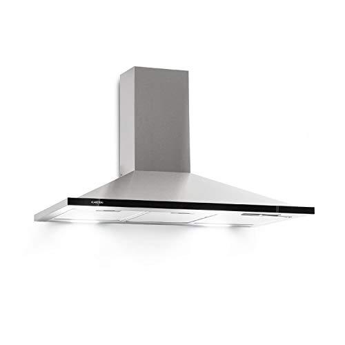 Klarstein Galina 90 Campana extractora • Extractor de humos de pared • Absorción y ventilación • 3 niveles • 350 m³/h • Vidrio acrílico • 90 cm de ancho • Filtro de aluminio • Acero • Plateado