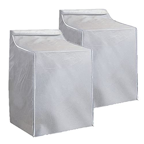 2Pack Washer and Dryer Covers,Top Load Washing Machine Cover Laundry Dryer Protect Cover Dustproof Waterproof Zipper Design for Easy Use Fit for Most Front-loading Machine(W29D28H43in) (Silve)