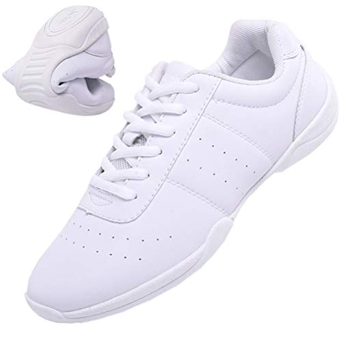 DADAWEN Women's White Cheerleading Shoe Fitness Training Shoes Dance Shoes Tennis Sneakers Cheer Shoes for Girls White US Size 8/EU Size 40