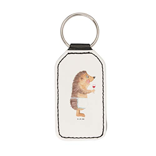 Mr. & Mrs. Panda Glücksbringer, Taschenanhänger, Rechteckig Schlüsselanhänger Igel mit Wein - Farbe Weiß