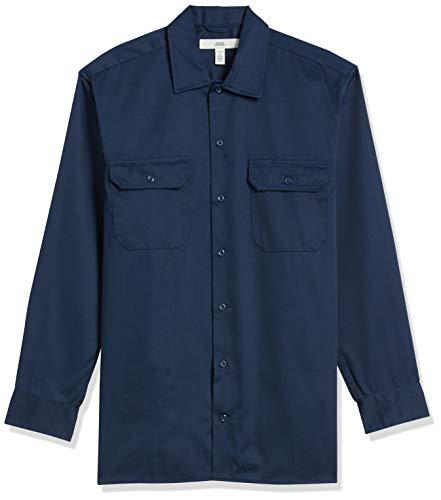 Amazon Essentials Long-Sleeve Stain and Wrinkle-Resistant Work Shirt Hemd, Navy, Medium