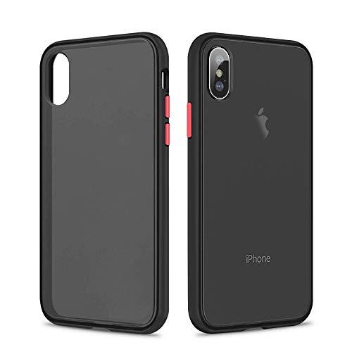 SURPHY Matte iPhone X Cover iPhone XS Cover,Traslucida Opaca Matte Design PU con Hybrid TPU(Antiurto con Protezione da Goccia) Frosted Protettiva Cover Case for iPhone X XS 5.8 Pollici(2019), Nero