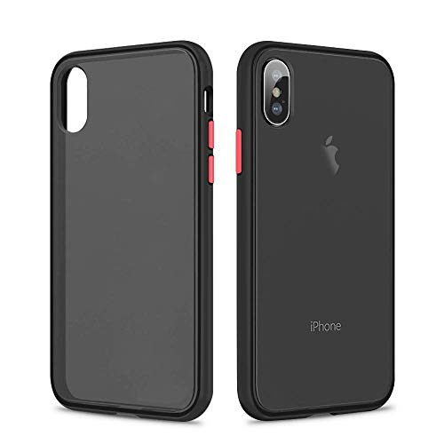 SURPHY Matte iPhone X Cover iPhone XS Cover,Traslucida Opaca Matte Design PU con Hybrid TPU(Antiurto con Protezione da Goccia) Frosted Protettiva Cover Case for iPhone X XS 5.8 Pollici(2019), Nero
