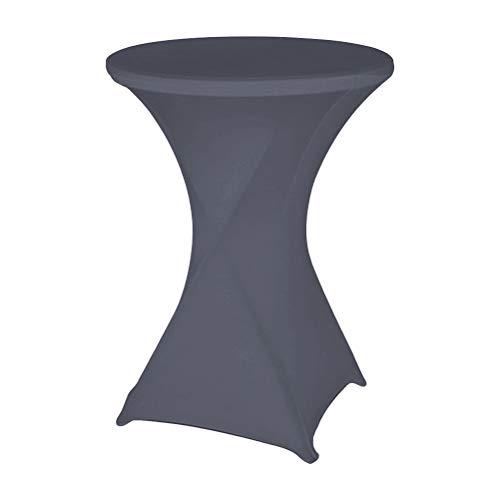 YANSHON Stretch Stehtischhusse Stella Ø 70 cm, elastische Tischhusse, Stehtisch Stretchhusse als Tischüberzug in Anthrazit,Tischdecke für Bistrotisch, Partytisch