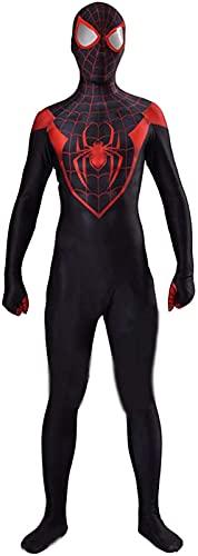 KKJKK PS5 Spiderman Miles Disfraz de Cosplay Adultos Niños Halloween Disfraz de Navidad Prop Anime Masquerade Onesies Trajes de Cosplay Adultos/Niños Estilo 3D Spiderman Negro Rojo(Size:niños)