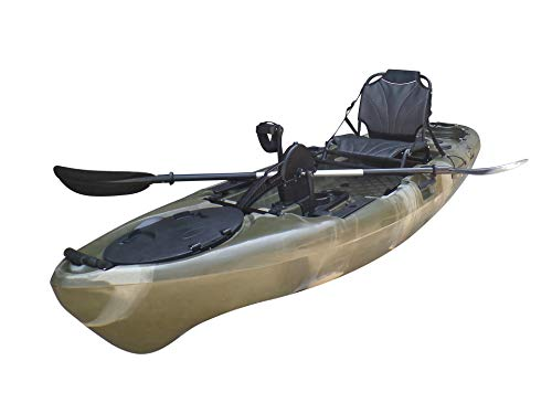 BKC PK11 Angler 10.6' Solo Sit-On-Top Fishing Kayak, Propeller-Driven w/Instant Reverse Pedal Drive, Rudder System, Paddle, and Upright Aluminum Frame Backrest Support Seat (Camo)