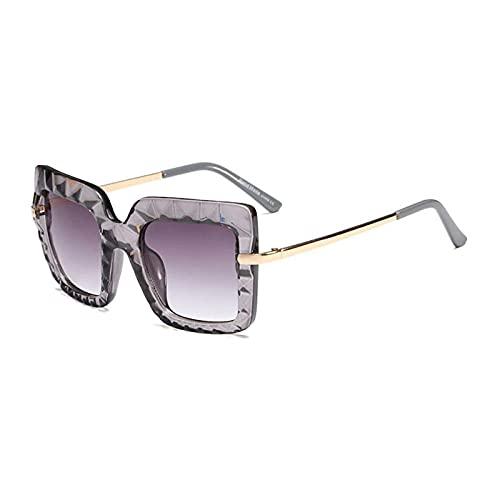 Gafas De Sol Hombre Mujeres Ciclismo Gafas De Sol Cuadradas Vintage De Cristal para Mujer, Lentes De Gradiente De Metal, Gafas De Sol para Hombre, Gafas-Gray_Gray