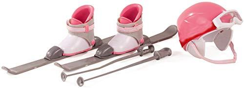 Götz 3402316 Set sci alpino - Set 8 pezzi di accessori per bambole in piedi alte 45-50 cm - composto da sci, racchette, casco, occhiali e scarponi da sci