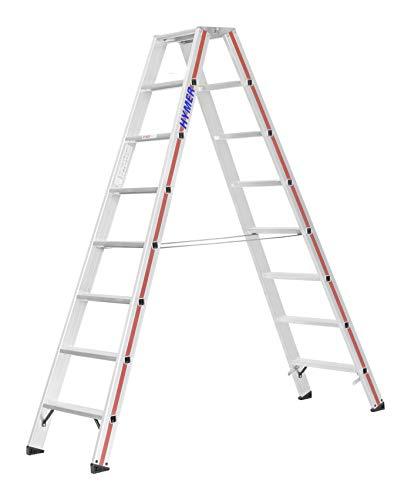 HYMER 802416 Stufenstehleiter SC80, beidseitig begehbar, 2x8 Stufen