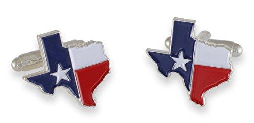 Texas Flag Lone Star Enamel Cufflinks + Tie Bar (Silver Cufflinks)