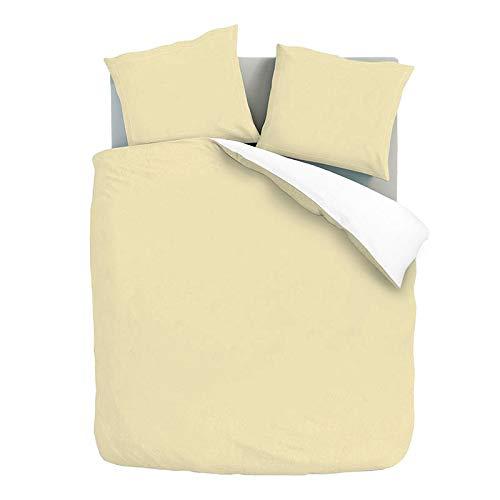 Dekbedovertrek Double Face - Zand/Wit - Eenpersoons 140x200 CM - Percal Katoen/Satijn, Wit/Creme - Fresh & Co - Incl. 1 Kussensloop van 60x70 CM